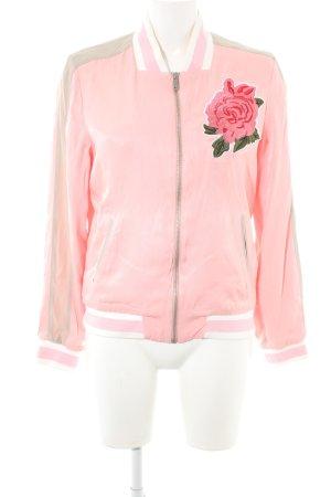 Rich & Royal Collegejacke rosa-grüngrau Streifenmuster Casual-Look