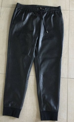Rich & Royal Pantalon en cuir noir