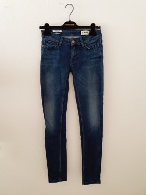 Rich&Royal Denim Jeans blau mid blue washed out Stretch Elasthan 27 36 Designer skinny