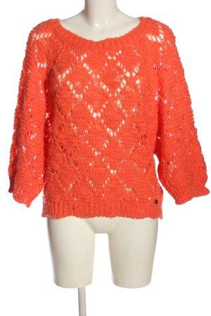 Rich & Royal Gehaakte trui licht Oranje casual uitstraling
