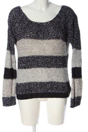 Rich & Royal Szydełkowany sweter czarny-jasnoszary Melanżowy W stylu casual