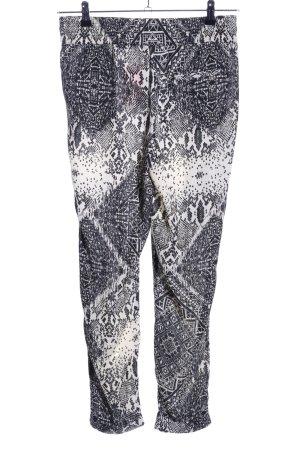 Rich & Royal Pantalón estilo Harem negro-blanco estampado con diseño abstracto