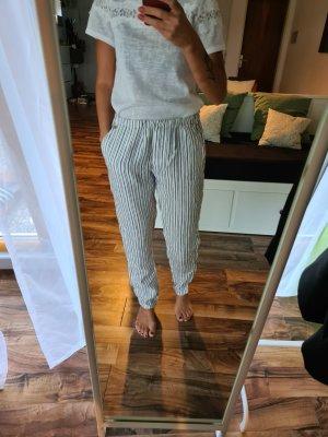 Rich & Royal Pantalon en lin blanc-argenté