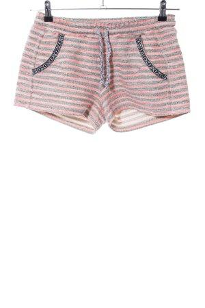 Rich & Royal Hot Pants hellgrau-pink Streifenmuster Casual-Look