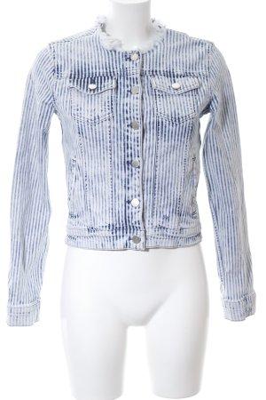 Rich & Royal Jeansjacke blau-weiß Streifenmuster Used-Optik