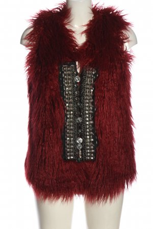Rich & Royal Fake Fur Vest red-silver-colored extravagant style
