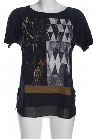 Rich & Royal Kurzarm-Bluse schwarz Motivdruck Casual-Look