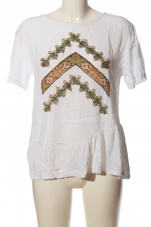 Rich & Royal Kurzarm-Bluse weiß Motivdruck Casual-Look
