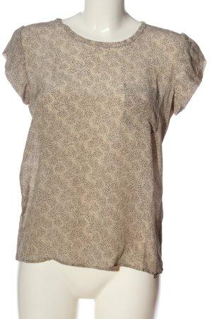 Rich & Royal Kurzarm-Bluse creme-braun abstraktes Muster Casual-Look