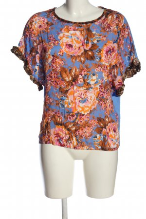 Rich & Royal Kurzarm-Bluse blau-hellorange Blumenmuster Business-Look