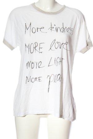 Rich & Royal Kurzarm-Bluse weiß Schriftzug gedruckt Casual-Look