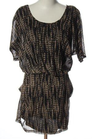 Rich & Royal Robe à manches courtes noir-blanc cassé imprimé allover