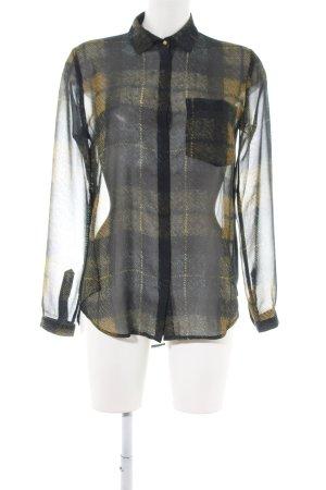 Rich & Royal Langarm-Bluse schwarz-blassgelb Allover-Druck Casual-Look