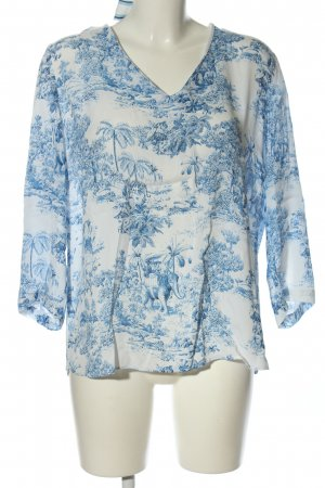 Rich & Royal Langarm-Bluse weiß-blau Allover-Druck Casual-Look