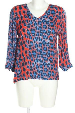 Rich & Royal Langarm-Bluse blau-rot abstraktes Muster Casual-Look