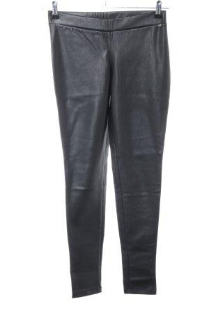 Rich & Royal Pantalone in pelle nero stile casual