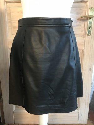 Rich & Royal Falda de cuero negro Cuero