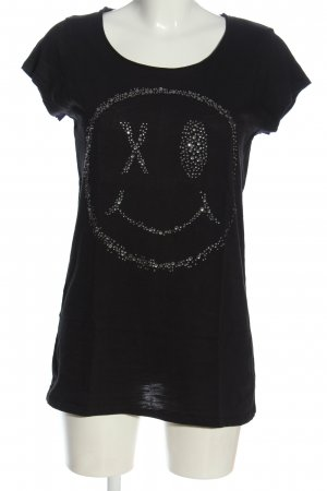 Rich & Royal Longshirt schwarz Motivdruck Casual-Look
