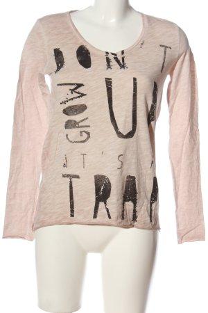 Rich & Royal Longsleeve pink-schwarz Schriftzug gedruckt Casual-Look