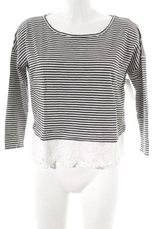 Rich & Royal Longsleeve weiß-schwarz Streifenmuster Casual-Look