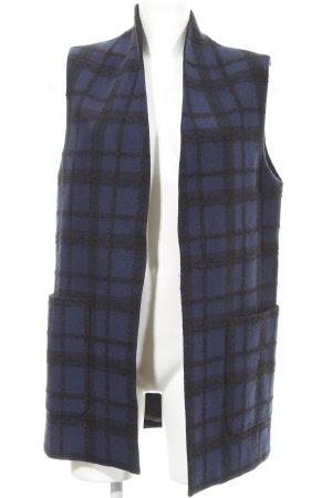Rich & Royal Longstrickweste dunkelblau-schwarz Karomuster Elegant