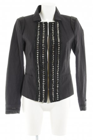 Rich & Royal Military Jacket black-grey striped pattern extravagant style
