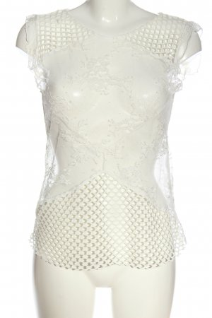 Rich & Royal Mesh Shirt white flower pattern casual look