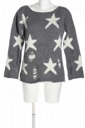 Rich & Royal Oversized Pullover hellgrau-weiß Allover-Druck Casual-Look