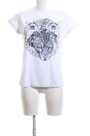 Rich & Royal Print-Shirt weiß-blau Motivdruck Casual-Look