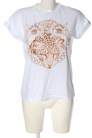 Rich & Royal Print-Shirt weiß-braun Motivdruck Casual-Look