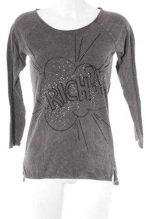 Rich & Royal Print-Shirt graulila Schriftzug gedruckt Casual-Look