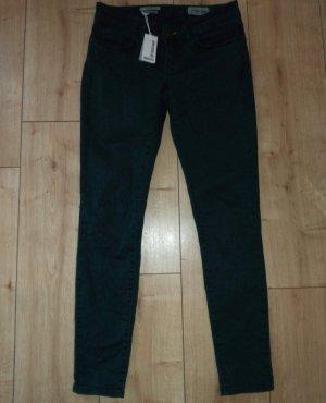 Rich & Royal Queens Skinny Jeans Hose Dunkelgrün Smaragd mit Leo Aufdruck W27 L32 XS/S