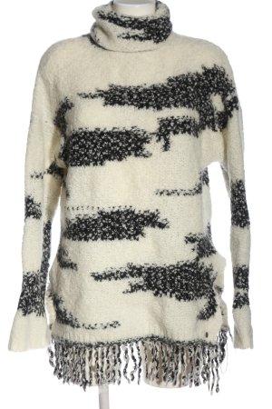 Rich & Royal Rollkragenpullover weiß-schwarz abstraktes Muster Casual-Look