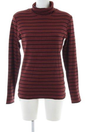 Rich & Royal Rollkragenpullover rot-schwarz Streifenmuster Casual-Look