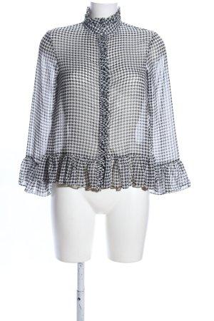 Rich & Royal Rüschen-Bluse schwarz-weiß Allover-Druck Business-Look