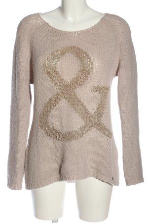 Rich & Royal Rundhalspullover wollweiß-bronzefarben Schriftzug gestickt