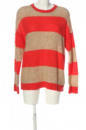 Rich & Royal Rundhalspullover wollweiß-rot Allover-Druck Casual-Look