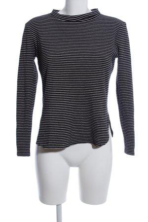 Rich & Royal Rundhalspullover schwarz-weiß Streifenmuster Business-Look
