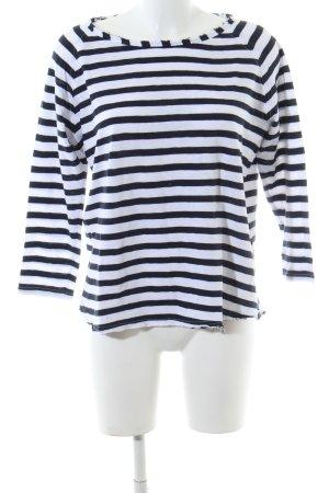 Rich & Royal Rundhalspullover weiß-schwarz Streifenmuster Casual-Look
