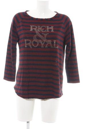 Rich & Royal Rundhalspullover rot-blau Streifenmuster Casual-Look