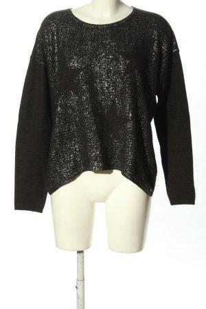 Rich & Royal Rundhalspullover schwarz-silberfarben Motivdruck Casual-Look