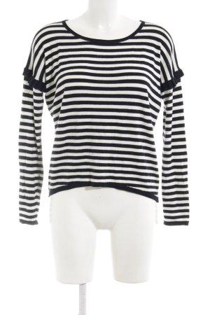 Rich & Royal Rundhalspullover schwarz-weiß Streifenmuster Casual-Look