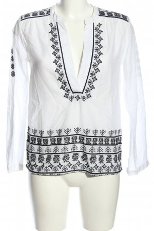 Rich & Royal Schlupf-Bluse weiß-schwarz grafisches Muster Casual-Look