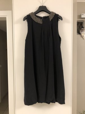 Rich & Royal vestido de globo negro-color plata