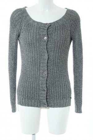 Rich & Royal Strick Cardigan silberfarben Zopfmuster Casual-Look