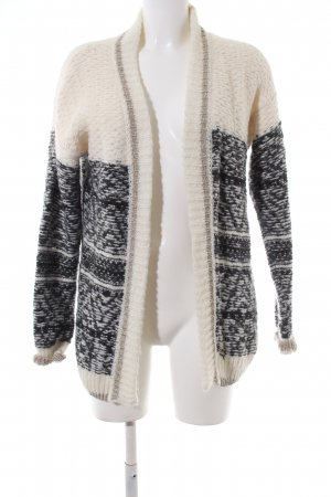 Rich & Royal Strick Cardigan creme-schwarz grafisches Muster Casual-Look