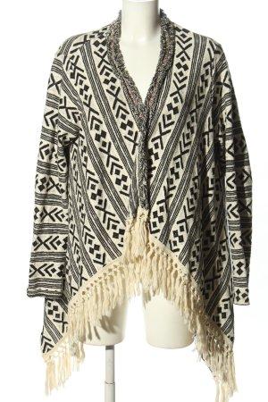 Rich & Royal Strickjacke weiß-schwarz abstraktes Muster Casual-Look