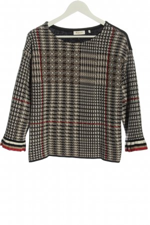 Rich & Royal Knitted Sweater black-cream check pattern casual look