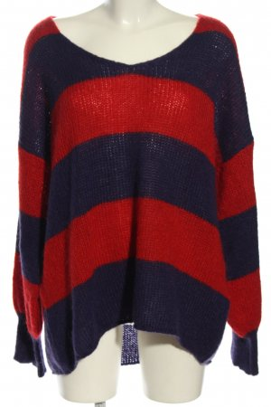 Rich & Royal Strickpullover rot-blau Streifenmuster Casual-Look