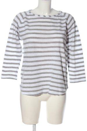 Rich & Royal Koszulka z dzianiny biały-jasnoszary Wzór w paski W stylu casual